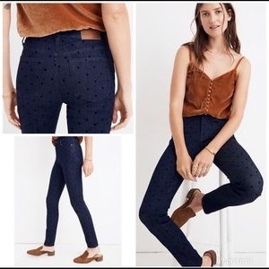 """Madewell 9"""" High Rise Skinny Jeans Flocked Dots"""